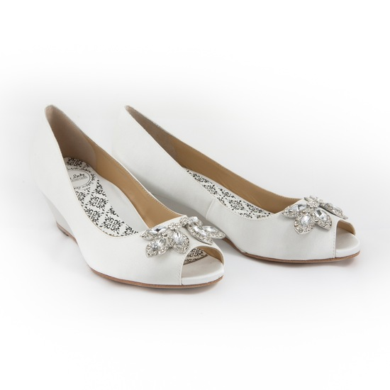 White bridal flats with shoe clip