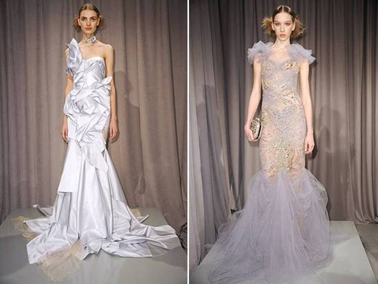 Draped and asymmetrical Marchesa gowns with lace applique and tulle