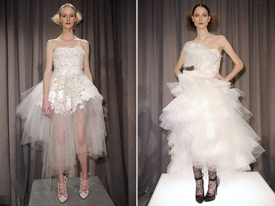White strapless tea-length tulle wedding dresses by Marchesa