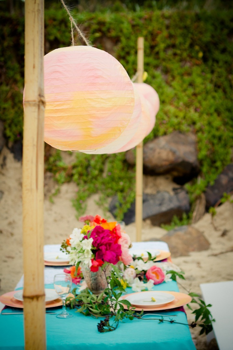 Beach reception decor for an Australian elopement