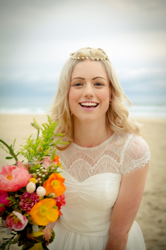 Bohemian bride on the beach