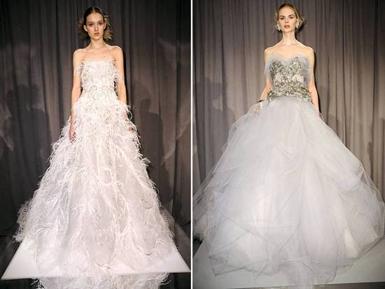 White strapless ballgown Marchesa wedding dresses with tulle and beading