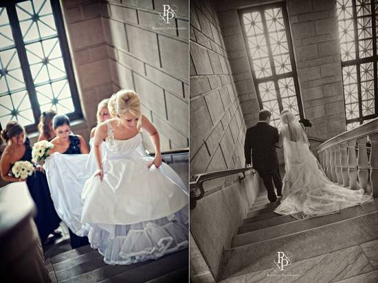 Ohio bride walks up ceremony stairs to meet her groom