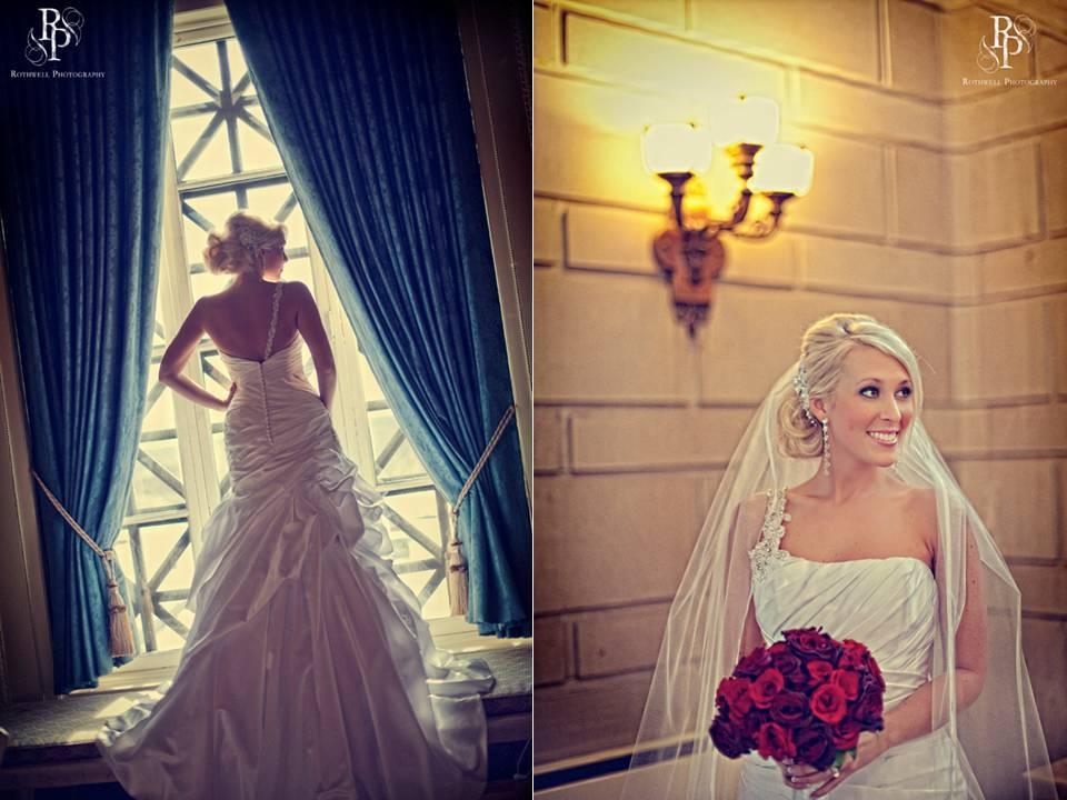 Ohio-bride-wears-white-one-shoulder-mermaid-wedding-dress-bridal-veil-red-bridal-bouquet.full