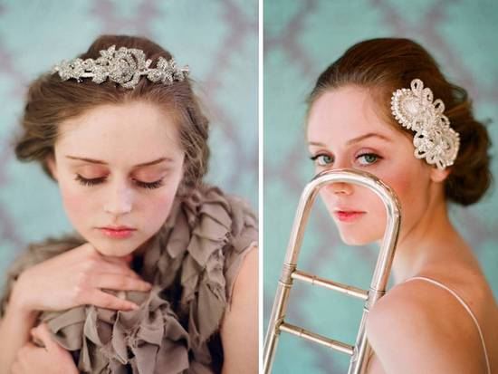 Vintage-inspired bridal tiara and hair barrett by Twigs & Honey