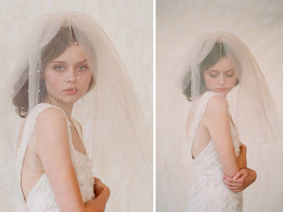 Double layer ivory tulle bridal veil
