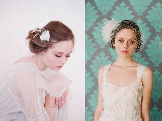 Delicate and romantic bridal hair accessories and veils