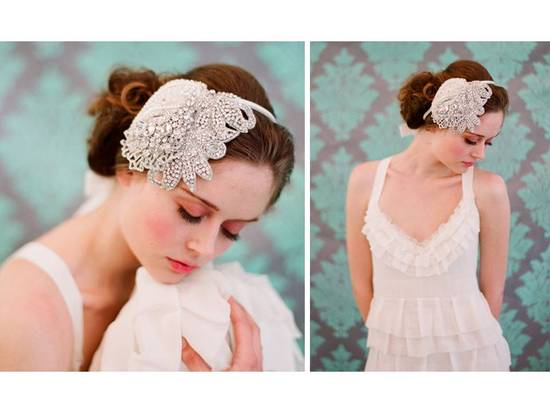 Vintage-inspired beaded bridal headband