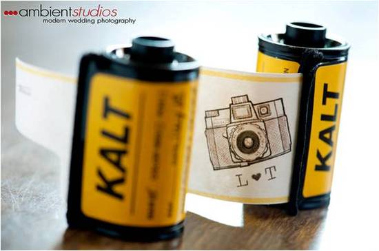 Vintage film canisters used to create adorable save-the-dates