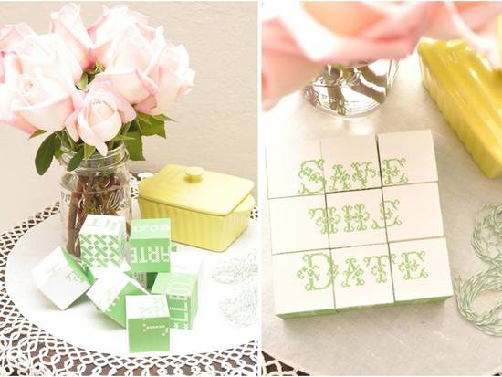 DIY unique wedding save-the-dates- wood blocks to build wedding puzzle