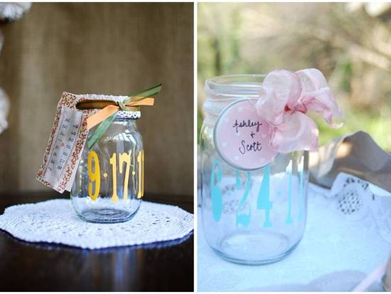 Handmade mason jar wedding save-the-dates via Etsy