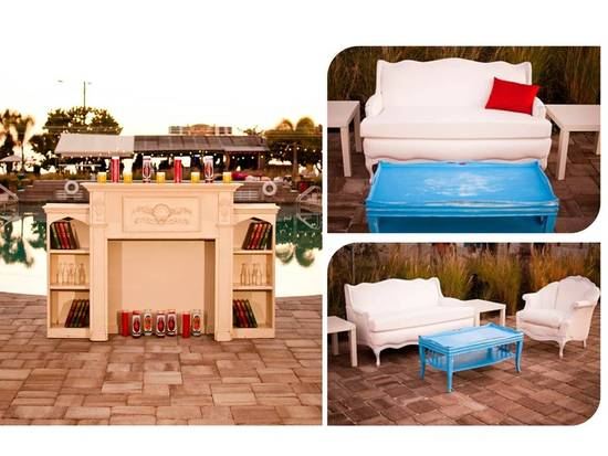 Retro vintage furniture rentals for your outdoor wedding reception