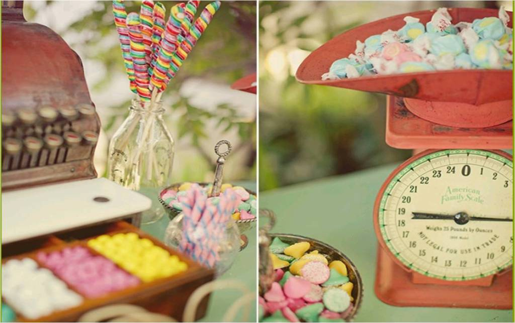 Vintage Scale And Cash Register Used For Wedding Reception Candy Bar