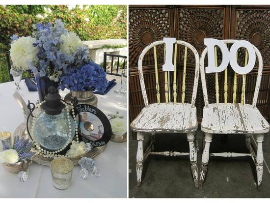 Special I Do wedding reception chairs and antique bottles as vases
