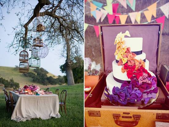 Vintage bird cages hung on trees outside to create an Anthro-inspired wedding