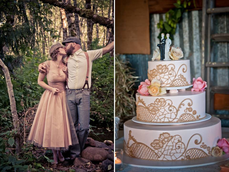 Vintage-inspired 3-tier wedding cake with lace applique pattern
