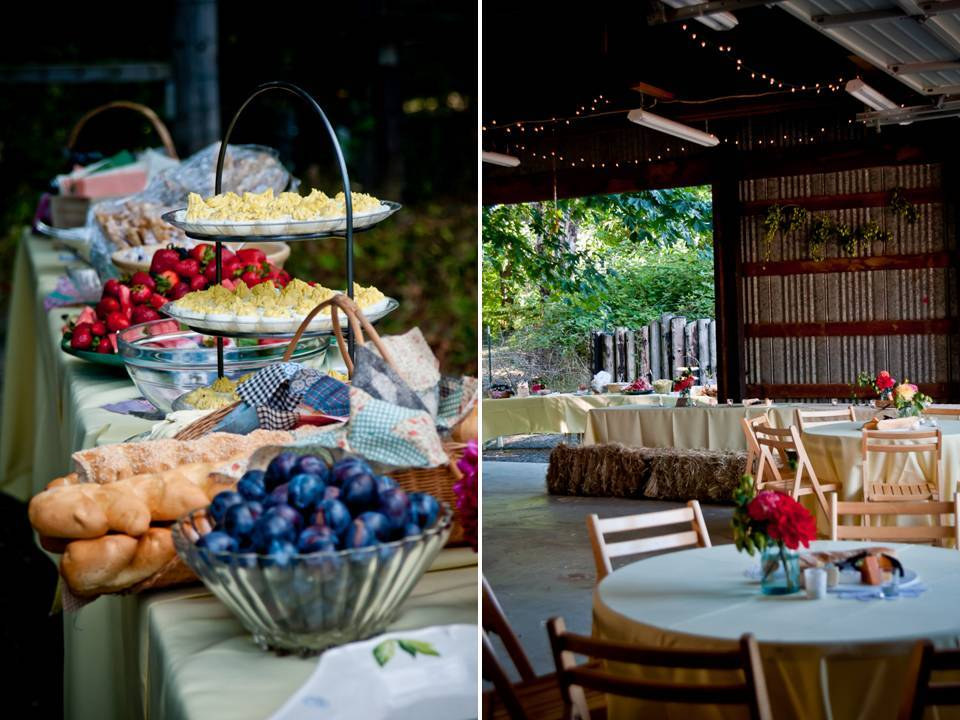 outdoor wedding reception with buffet-style dining