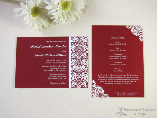Custom Damask Wedding Invitation