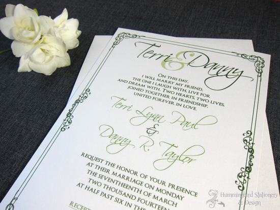 Custom Green Wedding Invitation