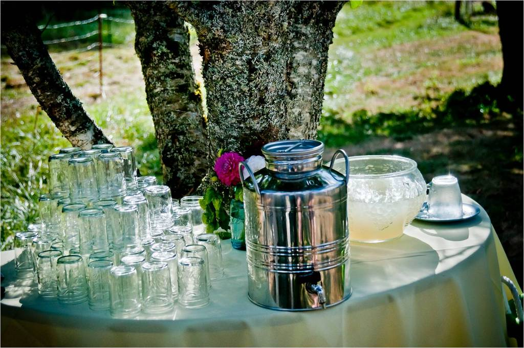 Outdoor wedding reception escort table with refreshments for weding guests