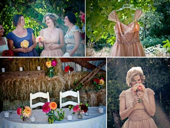 Anthropologie bride wears casual tea-length wedding dress, colorful bridal bouquet