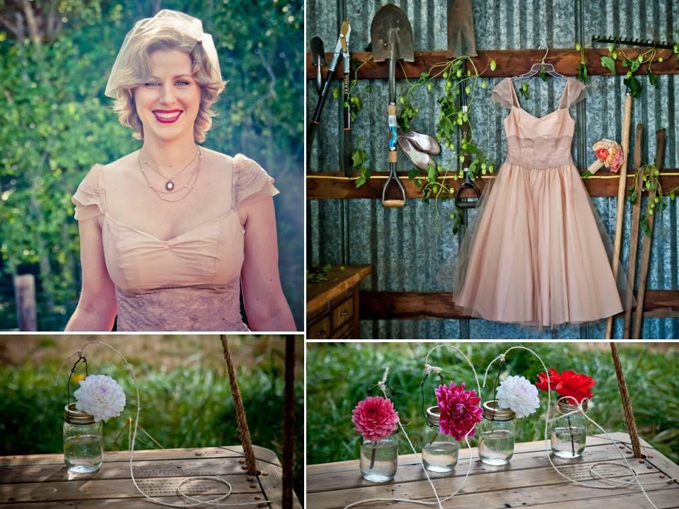 Vintage-inspired-wedding-dress-anthropologie-birdcage-veil-colorful-wedding-flowers.full