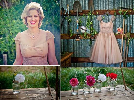 Vintage-inspired tea-length wedding dress, colorful Gerbera daisies