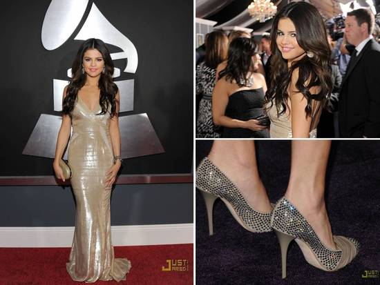 Selena Gomez shimmered in a J.Mendel gold gown at 2011 Grammys
