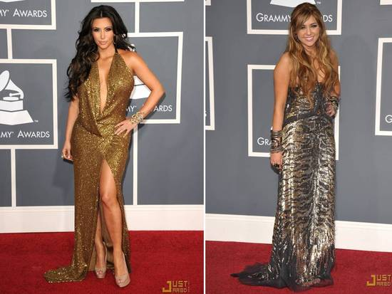 Kim Kardashian wears a gilded gold dress, Miley Cyrus wears metallic animal print, to 2011 Grammys