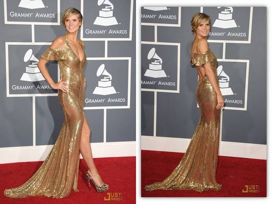 Heidi Klum wears all-gold mermaid gown to 2011 Grammy's