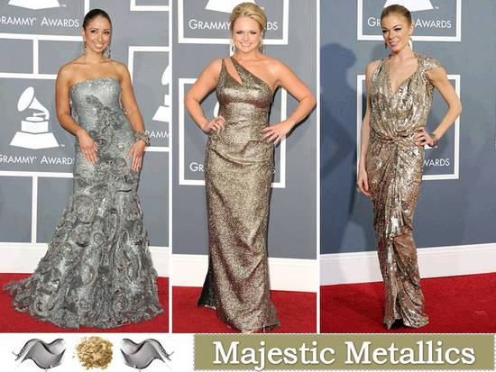 Metallic shades like silver, gold and bronze are hot hues for 2011 gowns