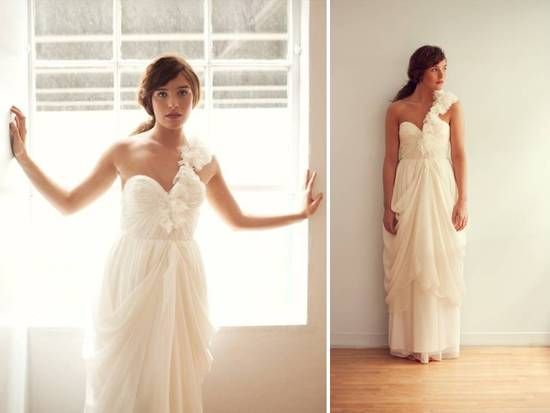 Grecian-inspired one-shoulder ivory wedding dress
