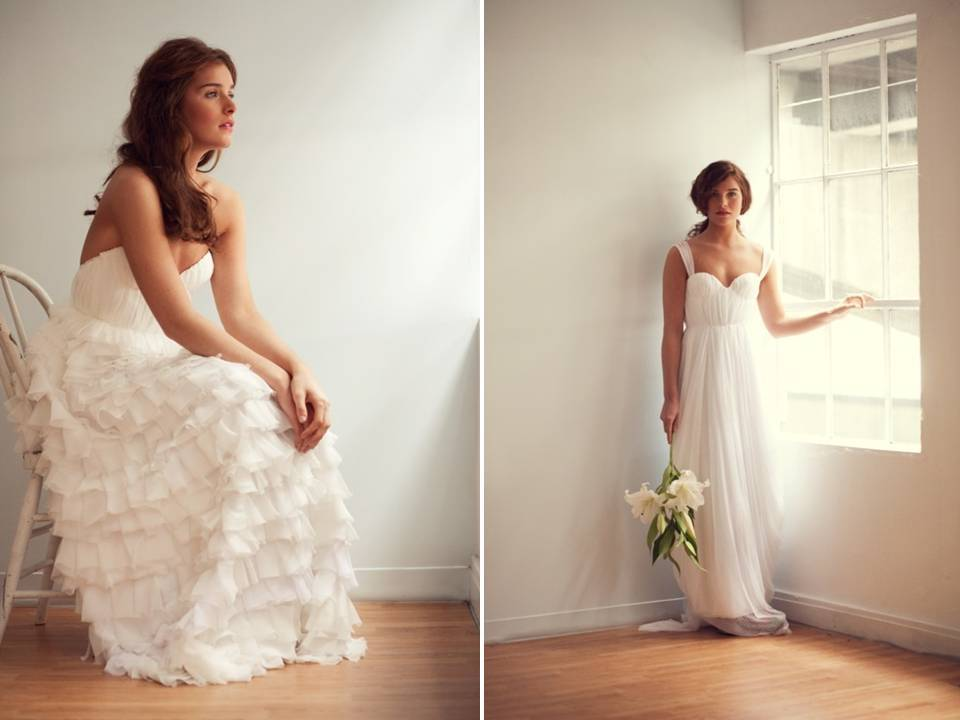 Simple eco-chic ivory wedding dresses with ruffle detail on skirt