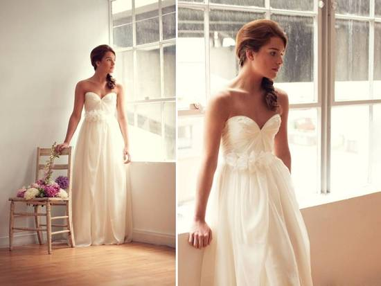 Strapless sweetheart neckline empire wedding dress with floral detail