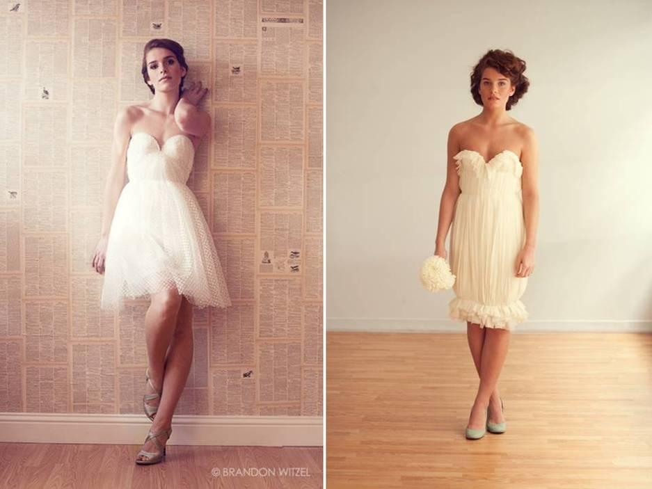 One-shoulder taupe eco-chic bridesmaid dress- short ivory wedding ...