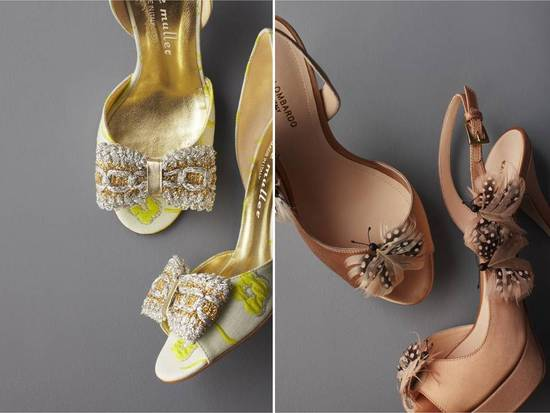 Chic vintage-inspired peep-toe bridal heels by BHLDN