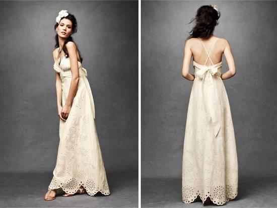 Ivory Empire Eyelit Lace Wedding Dress With Halter Neckline Criss Cross Back