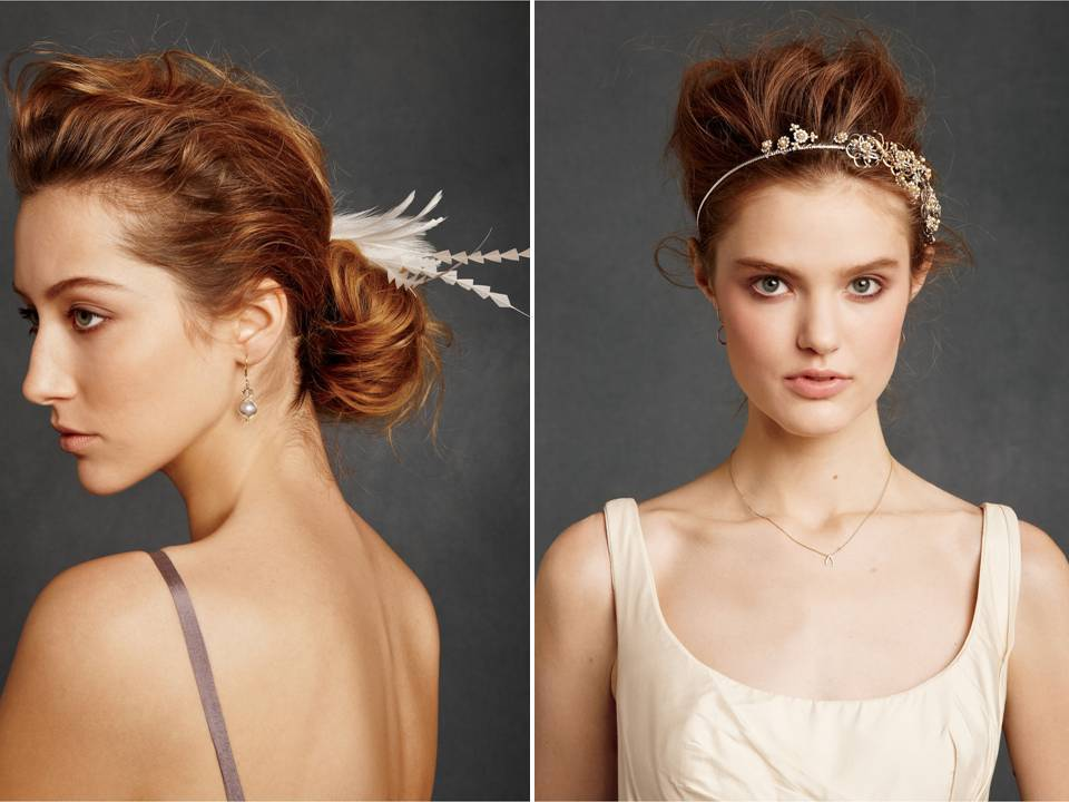 White feather bridal fascinator and bejeweled bridal headbands