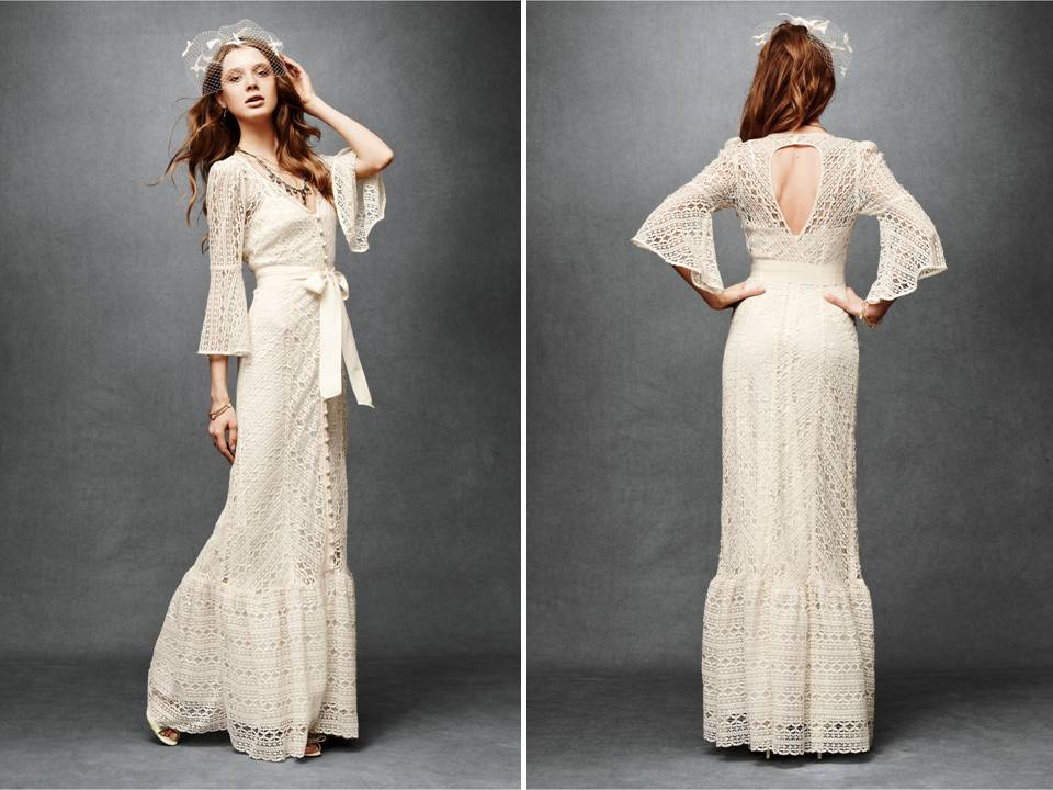 Ivory lace vintage chic column wedding dress with open for Ivory lace wedding dresses vintage