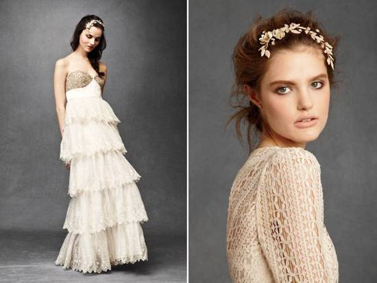Anthropologie's new bridal line- ruffled empire wedding dress, romantic bridal headband
