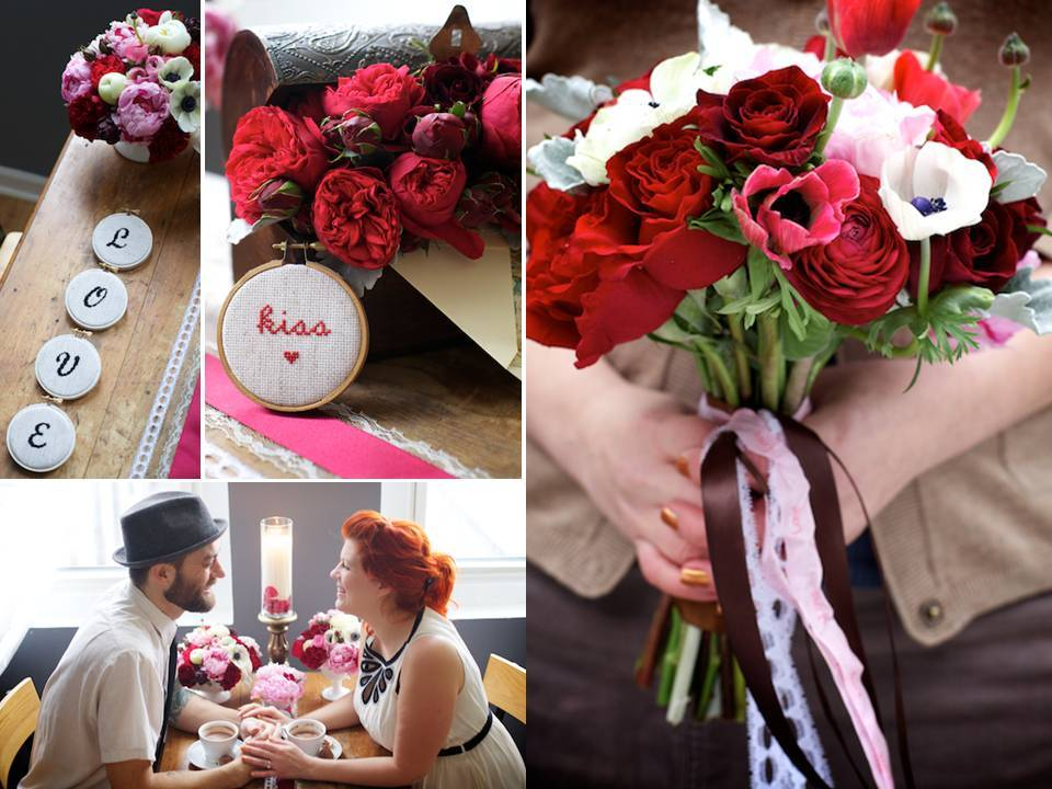 Romantic Valentine's Day engagement photo session with bold bridal bouquet