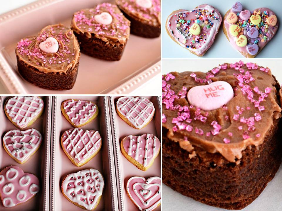 Yummy heart-shaped brownies and cookies for your Valentine\'s Day wedding