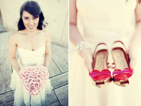 Bride wears ivory strapless dress, birdcage veil, red bridal heels and pink bouquet