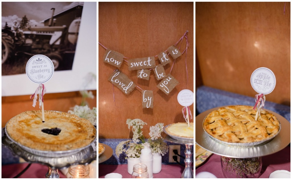 Rustic pie bar for the reception