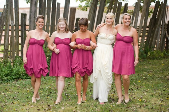 photo of Rustic pink bridesmaids dresses