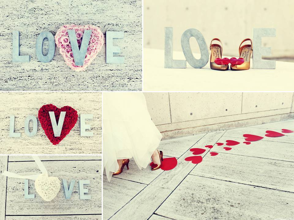Valentines-day-theme-wedding-red-light-blue-ivory-pink-bridal-heels-heart-shaped-bouquets.full