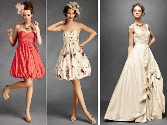 Strapless coral and ivory floral strapless bridesmaids dresses with bubble skirts