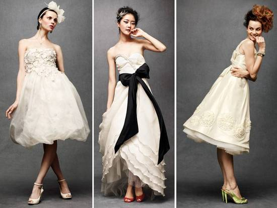 Tea-length ivory wedding dresses and reception dresses