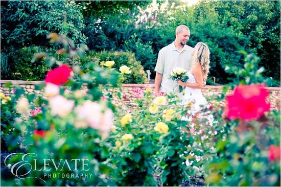 Gorgeous garden wedding venue in Colorado with rose garden