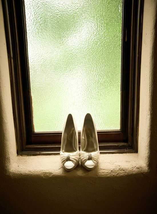 Shoes in window well